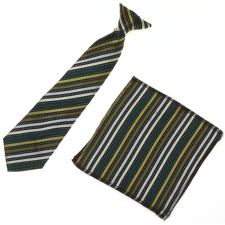 7 To 11 Years Boys Green Stripes Clip on Tie