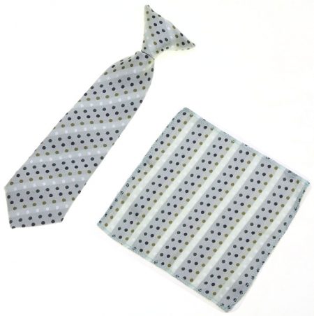 3 To 6 Years Boys Green Dots Clip on Tie Small Green Dots And Stripes Pattern