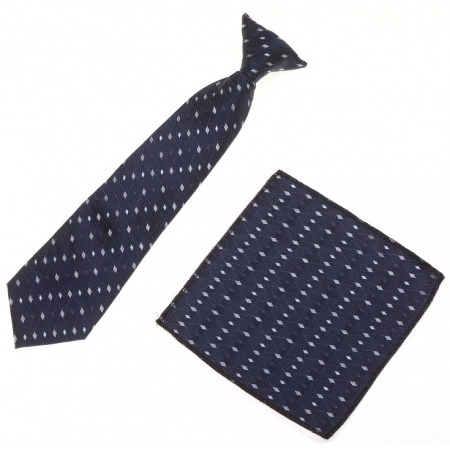 7 To 11 Years Boys Clip on Navy Tie With Navy And White Pattern