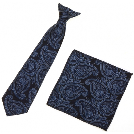 7 To 11 Years Boys Clip on Navy Tie With Navy Pattern