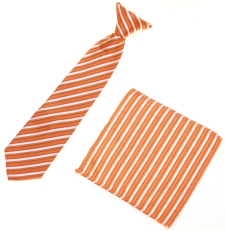 7 To 11 Years Boys Orange Stripes Clip on Tie