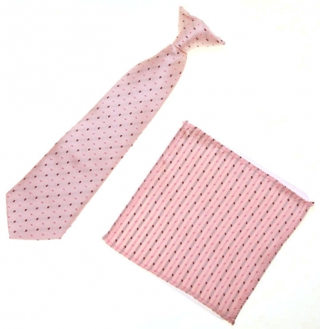 3 To 6 Years Boys Clip on Tie Pink Pattern