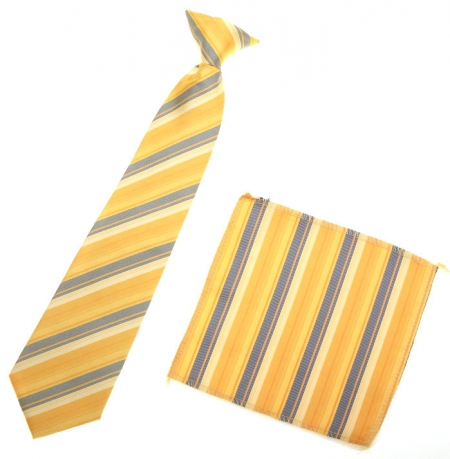 3 To 6 Years Boys Tie Gold And Grey Stripes
