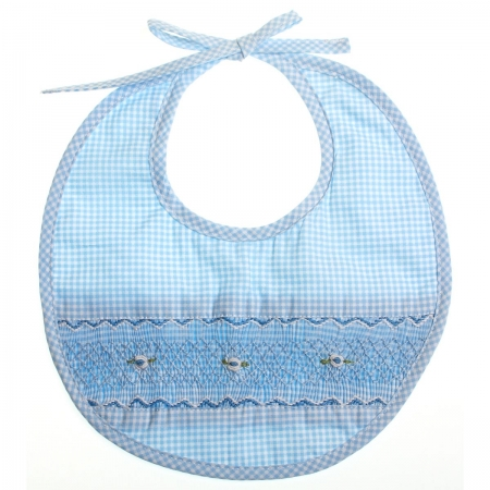 Hand smocked bib with blue embroidery and checked pattern