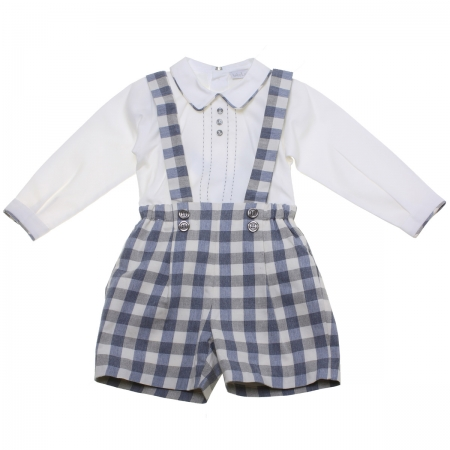 Made in Portugal Baby Boys White Blue Check Braces Outfit