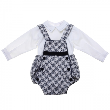 Made in Portugal Baby Boys Ivory Bodysuit Shirt Navy Check Dungarees Outfit