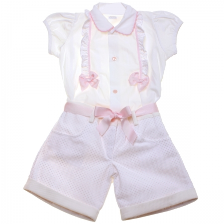 Baby And Toddle Girls Ivory Blouse Pink Shorts Set