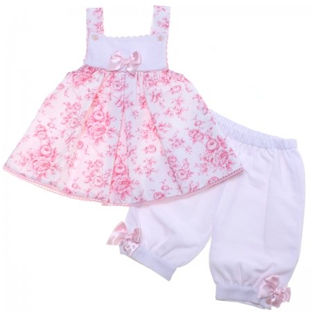 Spanish Baby Girls Pink Floral Dress Bloomers Set