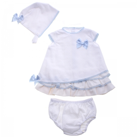 Spanish Baby Girls Off White Blue Polka Dots Dress Bonnet Panty Outfit