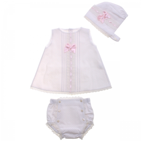 Spanish Baby Girls Ivory Dress Pink Dots With Bonnet And Panty