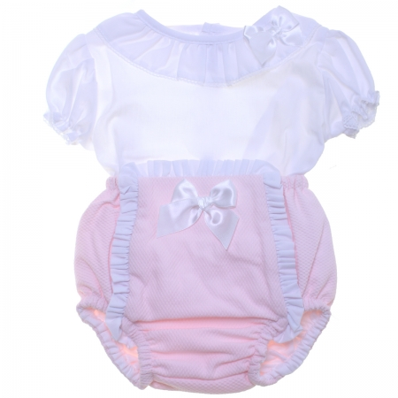 Spanish Baby Girls White Pink Jam Pants Set
