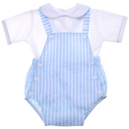 Baby Boys White Shirt Blue Stripes Dungarees Summer Outfit