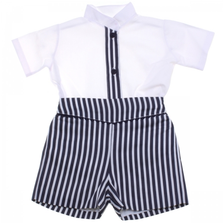 Baby Boys White Shirt Navy Stripes Shorts Set