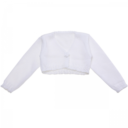 Girls White Bolero With Flower And Scallop Frills