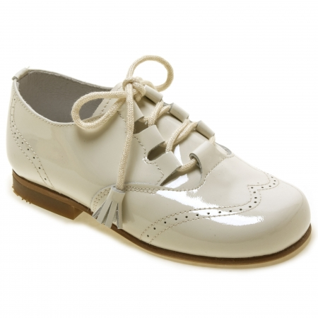 Boys Ivory Patent Brogue Shoes