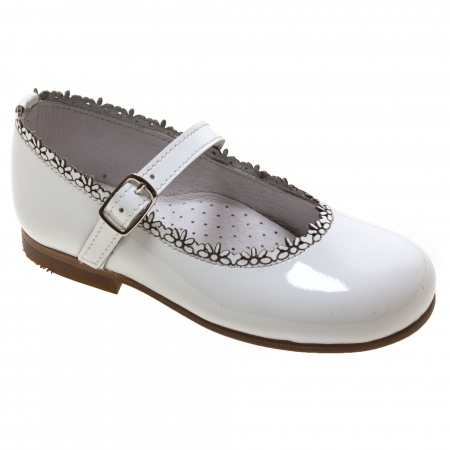 Girls White Patent Mary Jane Shoes Flower Edge