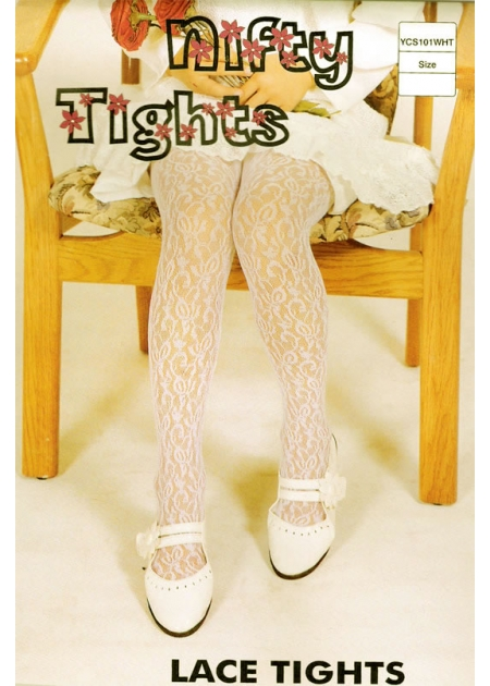 Girls Ivory Lace Tights