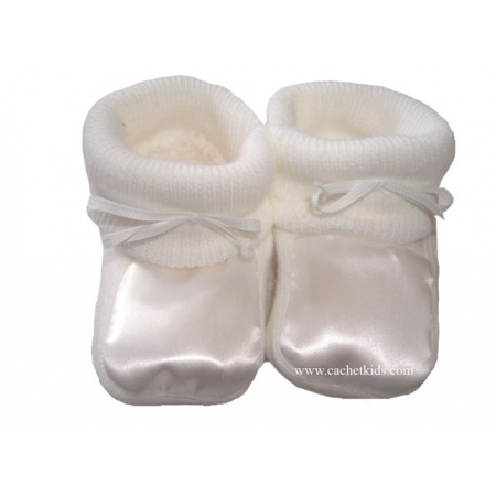 Baby White Bootees for Newborn Boys and Girls