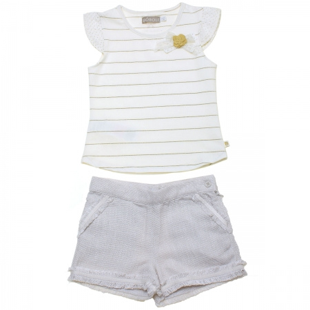 Sale Spring Summer Spanish Boboli Ivory Top Grey Shorts Set