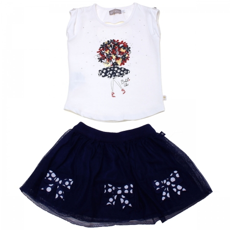 Sale Spring Summer Spanish Boboli White Top Navy Skirt Outfit