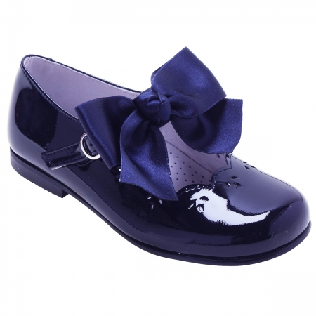 Girls Navy Mary Jane Patent Shoes With Removable Bow