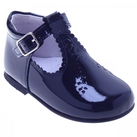 Girls Navy T Bar Patent Boots Scallop Edge Leaves Pattern