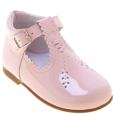 Girls Pink T Bar Patent Boots Scallop Edge Made In Spain