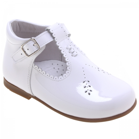 Girls White T Bar Patent Boots Scallop Edge