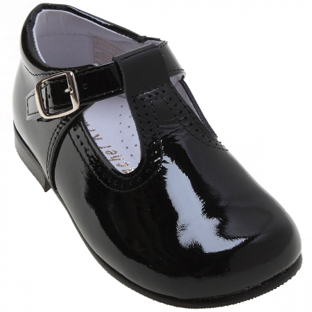 Toddlers Black Patent T Bar Shoes