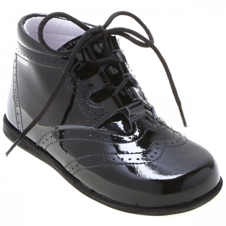 Boys Black Patent Brogue Boots In Leather