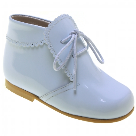 Boys Baby Blue Patent Boots Scallop Edge