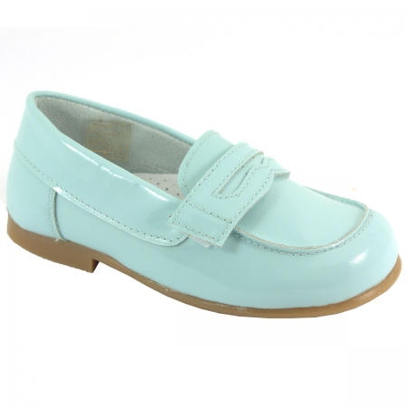 Boys Blue Patent Loafer Shoes