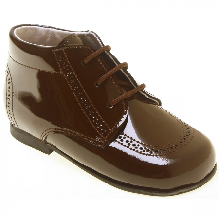 Boys Brown Boots In Patent Leather