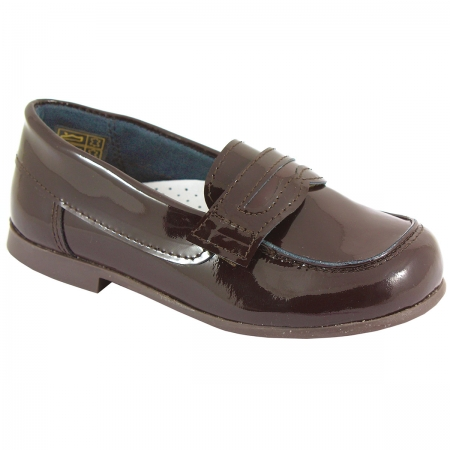 Boys Chocolate Brown Patent Loafer Shoes