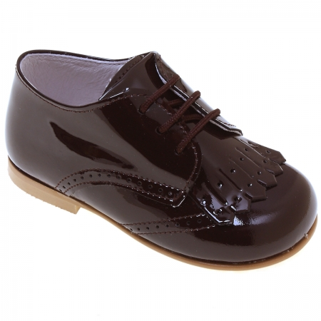 Boys Chocolate Brown Patent Shoes With Removable Fringes