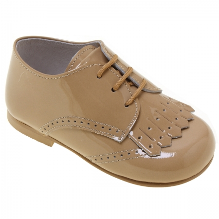 Boys Caramel Patent Shoes With Removable Fringes