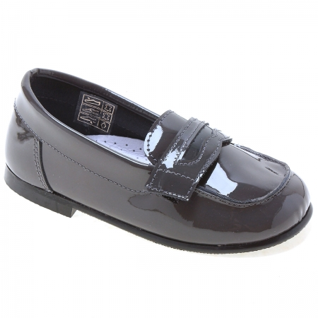 Boys Grey Patent Loafer Shoes