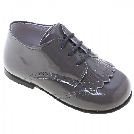 Boys Grey Patent Shoes With Removable Flaps