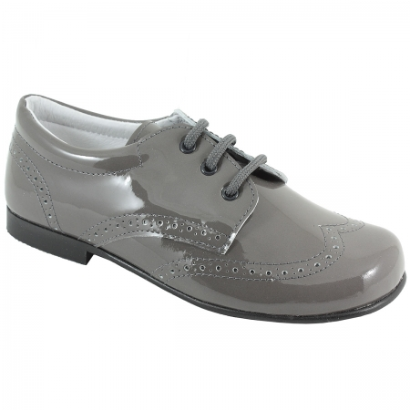 Boys Grey Patent Shoes In Patent Leather