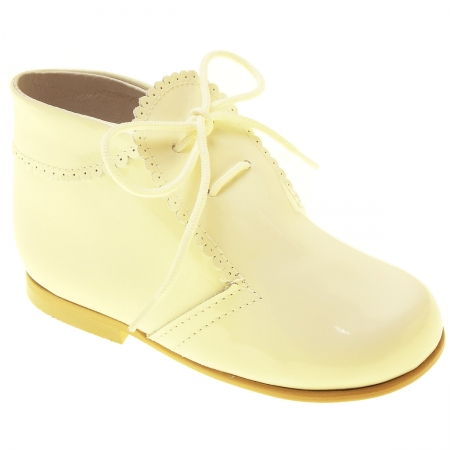 Baby And Toddler Boys Ivory Patent Boots Scallop Edge