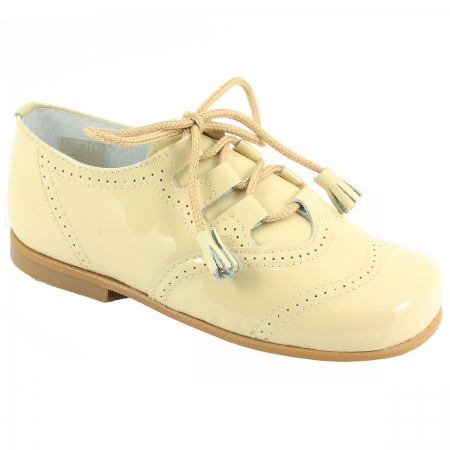 Boys Ivory Patent Brogue Shoes With Tassels