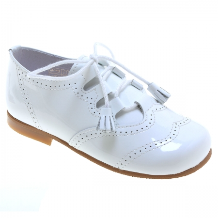 Boys White Patent Brogue Leather Shoes With Tassels