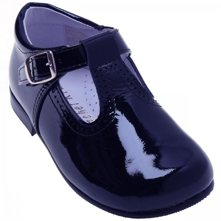 Toddlers Navy Patent T Bar Shoes