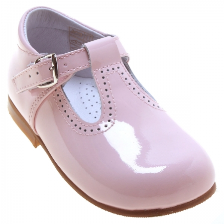 Toddlers Baby Girls Pink Patent T Bar Shoes