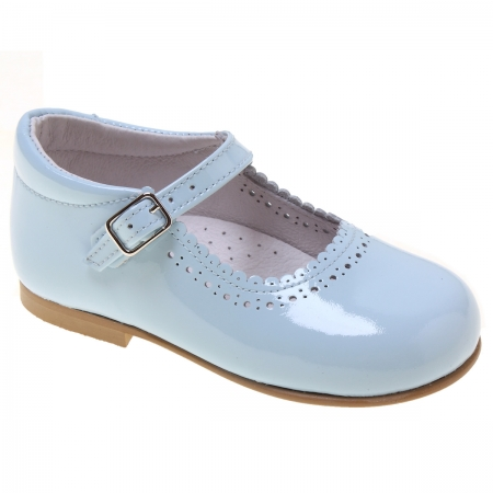 Toddler Girls Baby Blue Patent  Mary Jane Shoes Scallop Edge