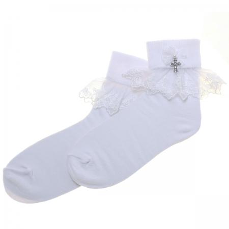 Girls White Communion Socks In Rose Lace And Bow With A Cross