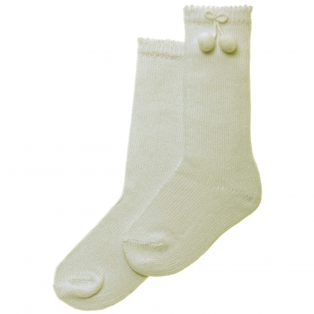 Carlomagno Ivory Knee High Pom Pom Socks