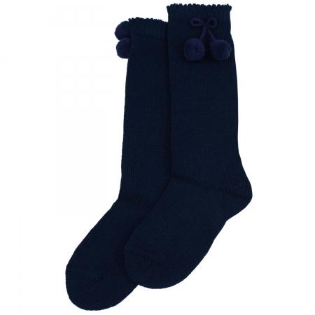 Navy Knee High Pom Pom Socks Cachet Kids