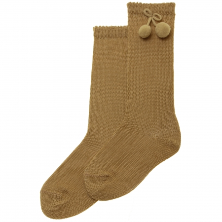 Caramel Colour Knee High Pom Pom Socks