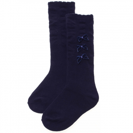 Navy Knee High Socks With 3 Bows For Girls 12 Months To 7 Years